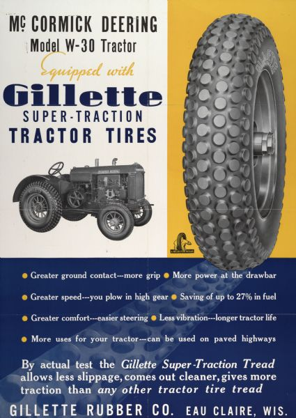 Advertising poster of the Gillette Tire Company of Eau Claire showing an International Harvester McCormick-Deering W-30 tractor equipped with Gillette tires.