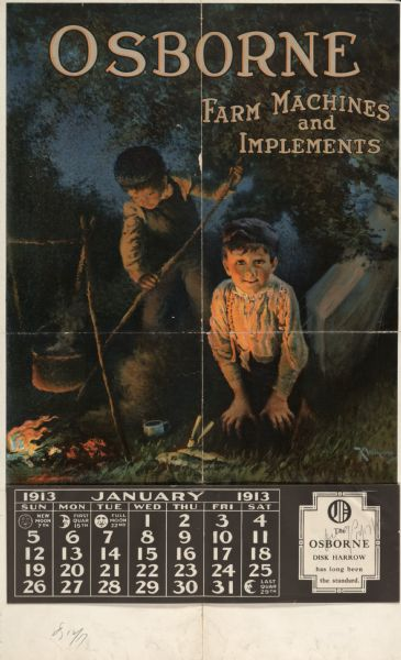 Advertising calendar for Osborne brand farm implements showing two young boys tending a pot hanging over an evening fire.