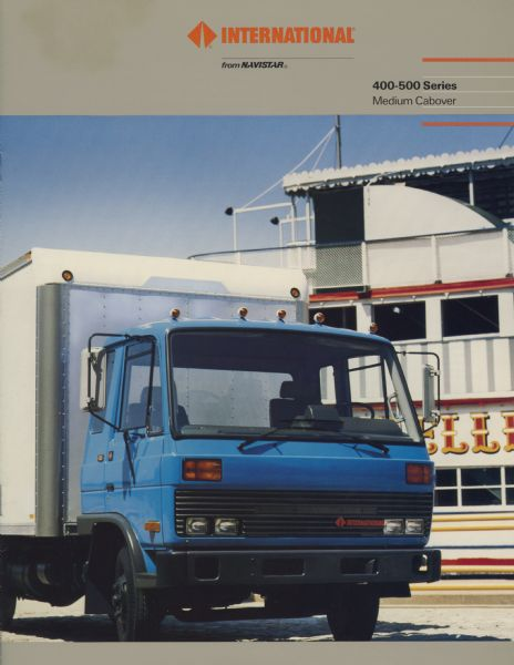 Front cover of a brochure advertising International 400-500 Series Medium Cabover trucks. Features a color photograph of an International 400 delivery truck.