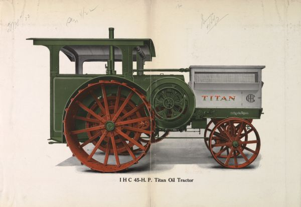 Advertising proof of a color illustration of an International 45 h.p. Titan oil tractor.