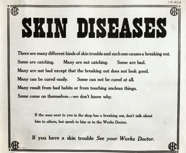 Industrial Health Poster Skin Diseases Poster Wisconsin