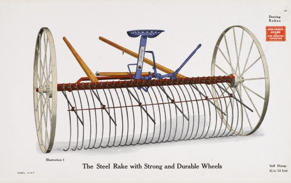 "General line catalog color illustration of a Deering hay rake. The text beneath the illustration reads, ""The Steel Rake with Strong and Durable Wheels"" and ""Self Dump, 6 1/2 to 12 feet."""