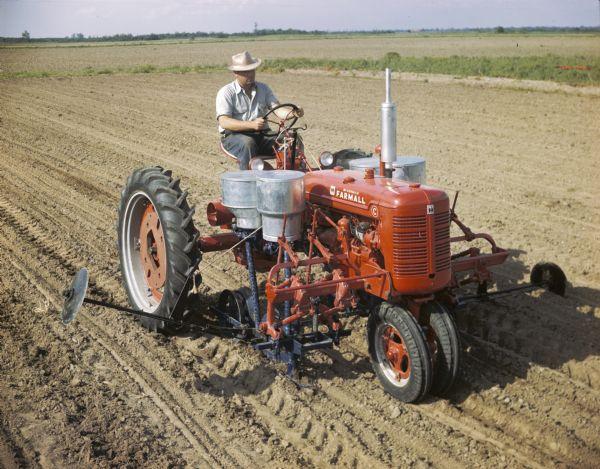 Farmall C Tractor : Farmall c tractor with cotton planter photograph