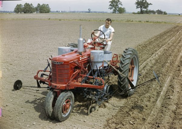 Farmall H Tractor With Cotton Planter Photograph