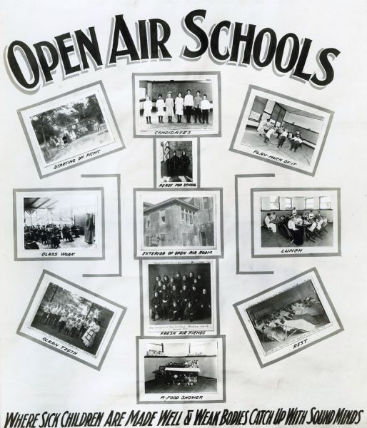"Exhibit poster illustrating the proposed benefits of ""open air schools . . . where sick children are made well and weak bones catch up with sound minds."" In some of the photographs, the children are wearing heavy coats and hats to stay warm in the open air school."