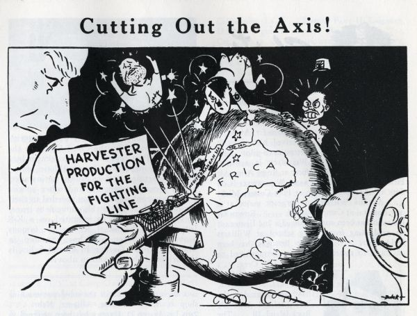 "A cartoon originally published in the August issue of the ""HARVESTER NEWS-LETTER"" showing a International Harvester employee working on a lathe cutting out Adolph Hitler, Benito Mussolini, and Hideki Tojo from the Earth."