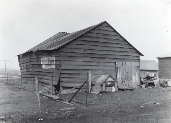 leaning shed photograph wisconsin historical society