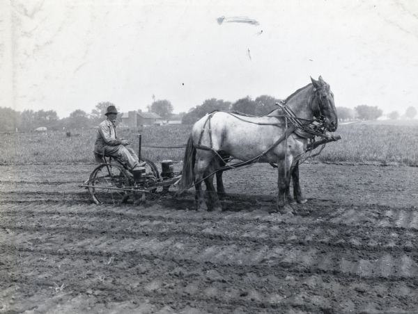 Man With Horse Drawn Corn Planter Photograph Wisconsin