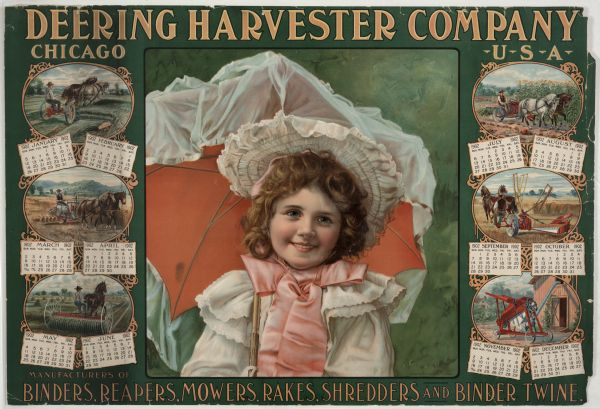 Deering Harvester Company : Deering harvester company calendar poster wisconsin