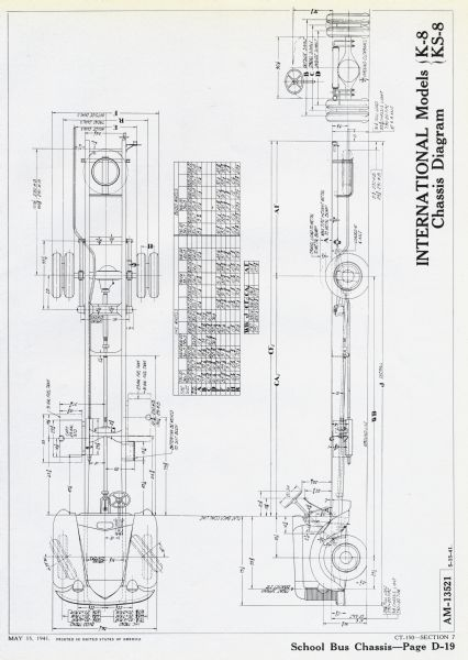 Dimensional drawing or chassis diagram for the International K-8 and KS-8 school bus.