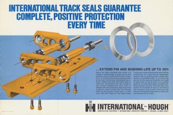 "Advertising poster for International track seals. Features the text: ""International track seals guarantee complete, positive protection every time."""