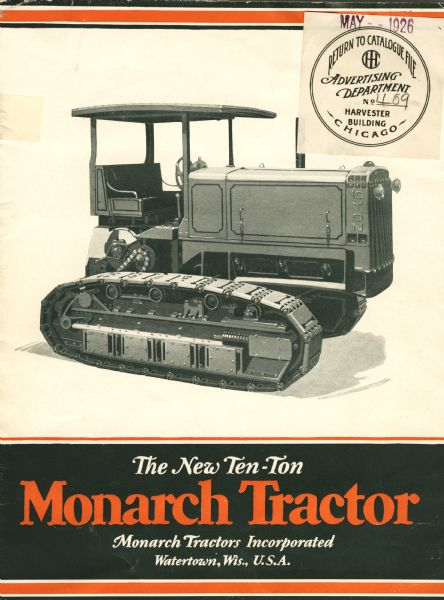 Front cover of a booklet produced by Monarch Tractors Incorporated to advertise the new ten-ton Monarch tractor.
