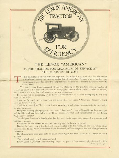 "Advertisement for the Lenox American tractor featuring a photograph of the tractor along with descriptive text. The headline reads, ""The Lenox American Tractor for Efficiency. The Lenox 'American' is the Tractor for Maximum of Service at the Minimum of Cost."""