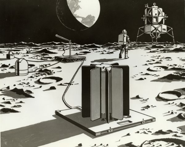 "Artist's illustration of a beryllium container built by the Solar Division of International Harvester. The container was intended to be used as a power source for instruments used by Apollo 12 astronauts on the moon. Original caption reads: ""An artist's rendering illustrates how the SNAP-27 will appear after one of the Apollo 12 astronauts places it on the moon. Solar built the finned beryllium container in the foreground under a $3.6 million contract to General Electric. A thermoelectric generator inside the container will provide power to operate instruments which are seen in the background."""
