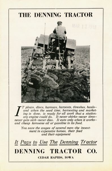 Front cover of a pamphlet advertising the Denning tractor featuring a rear view of a man using the tractor to work in a field.