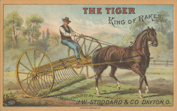 Features a color illustration of a man using a horse-drawn sulky rake.