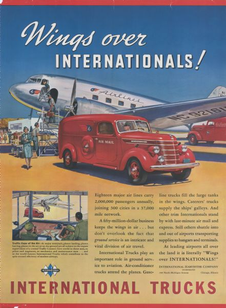 "Advertising poster for International trucks. Features a color illustration of an air mail delivery truck next to a twin propeller cargo plane. Poster text reads: ""Wings Over Internationals!"""