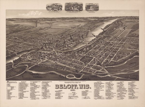 Bird's-eye map of Beloit with insets of Williams Engine Works, Eclipse Wind Engine Co., and John Foster & Co.
