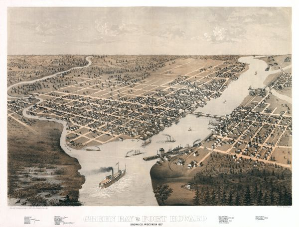 Bird's-eye map of Green Bay and Fort Howard, Brown Co., depicts street names and street layouts, houses, trees, and the East River. A reference key at the bottom of the map shows the location of school houses, the court house, the depot, specific hotels (such as Jackson House, Fox River House, and Turners Hall) and specific denominational churches (Presbyterian, Methodist, Morman, Episcopal, German Lutheran, German Catholic, and Holland Catholic). At bottom left is a person in a canoe pointing a gun at ducks in a marshy area.