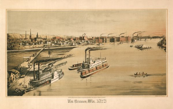 Bird's-eye map of La Crosse from the Mississippi River.