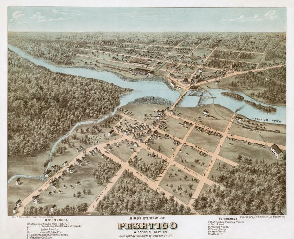 Bird's-eye view of Peshtigo, before it was destroyed by fire on the night of October 8, 1871.