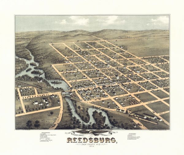 Bird's-eye map of Reedsburg, on the Baraboo River.