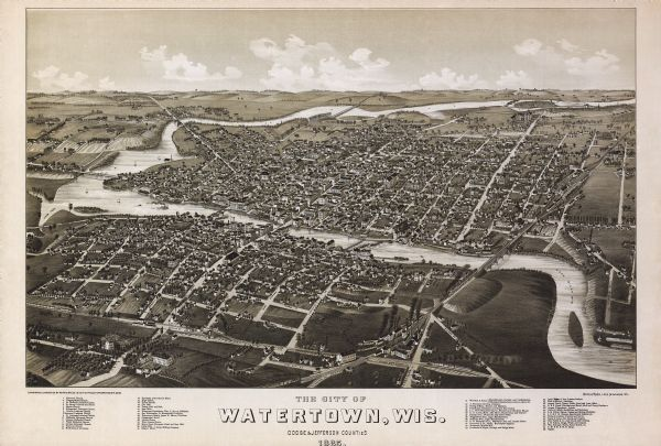 Bird's-eye view of Watertown with indexed points of interest.