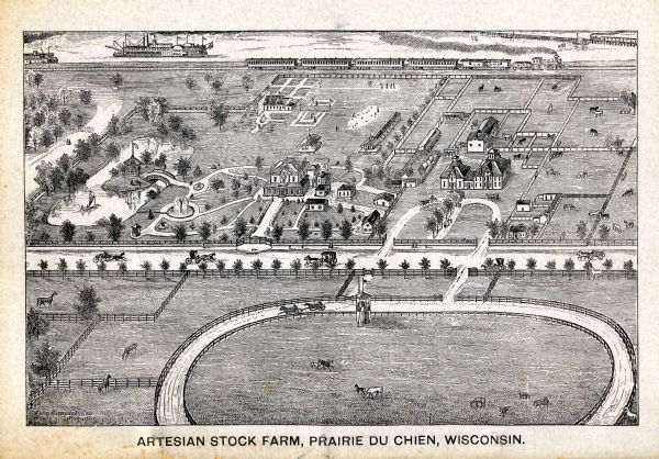 Bird's-eye view drawing of the grounds of Villa Louis, the estate of the fur trading Dousman family. After the death of H. Louis Dousman's mother in 1882, he began the transformation of the property into a horse-breeding farm to make his passionate hobby of harness racing into his livelihood.