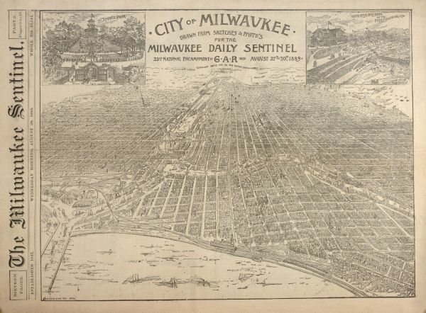 "Bird's-eye view of Milwaukee, drawn from sketches and photographs for the ""Milwaukee Daily Sentinel,"" with insets of Schlitz Park and the Pabst Brewing Company's White Fish Bay Park."