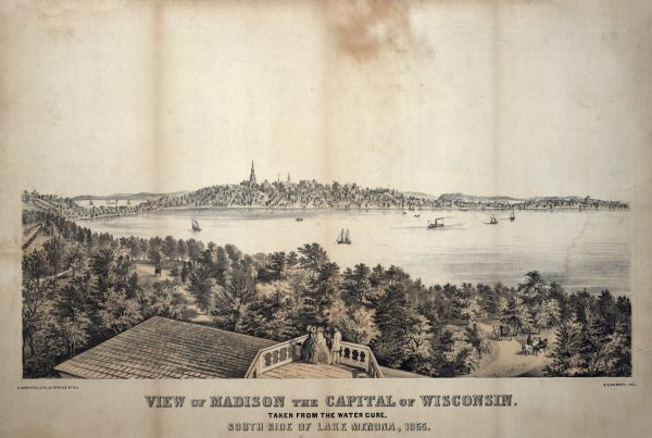 "Bird's-eye view of Madison. ""Taken from the Water Cure, South Side of Lake Monona, 1855."""