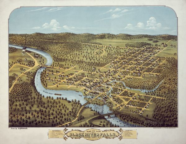 Bird's-eye map of Black River Falls, looking southwest.