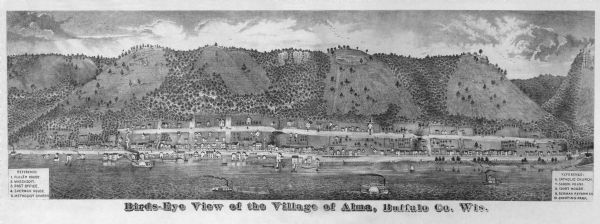 "Bird's-eye panorama of Alma, from ""An Illustrated Historical Atlas of Buffalo and Pepin Counties."""