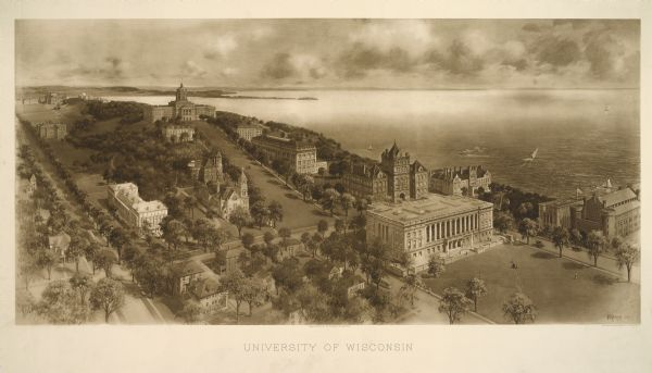 Bird's-eye view of the University of Wisconsin-Madison campus looking northwest.  Building at top of hill, to left of center is Bascom Hill (Main Hall) and clockwise: North hall, Education Hall (larger than North hall), the tri-part Science hall, two unidentified halls to the right  and  below, the Armory (Red Gym or Old Red, on the mall), to the left, the  Wisconsin Historical Society (large white building at base of Bascom Hill), across street towards back, Music Hall, Lathrop Hall to the left, an unidentified hall behind Music Hall, and South Hall just below Bascom Hall, on the left of the image.  There are also eight unidentified small houses at the bottom left corner.  Street with a streetcar, to left of Historical Society is State Street, with Lake Mendota in background.