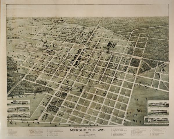 Bird's-eye map of Marshfield, looking north, with six vignettes of east and west side of Central Ave, between 3rd and 4th, 2nd and 3rd, and Railroad and 2nd.  Location key beneath image identifies 39 businesses.