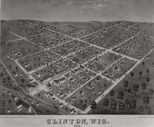 Clinton Wisconsin Map Or Atlas Wisconsin Historical Society