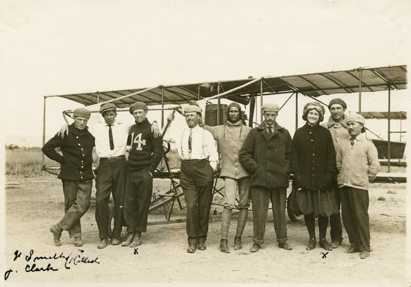 The 1912 class at the Glenn Curtiss Aviation School on North Island, near San Diego. Milwaukee's John Kaminski (in white shirt and tie) is second from the left. Unlike the previous year's class, which was almost entirely comprised of students from the military, the Kaminski's class was a disparate, international group. From the left they are: Barlow, Kaminski, Smith, Russell, Mohan Singh (India), Lansing Callan, Julia Clark, and K Takeshi (Japan).