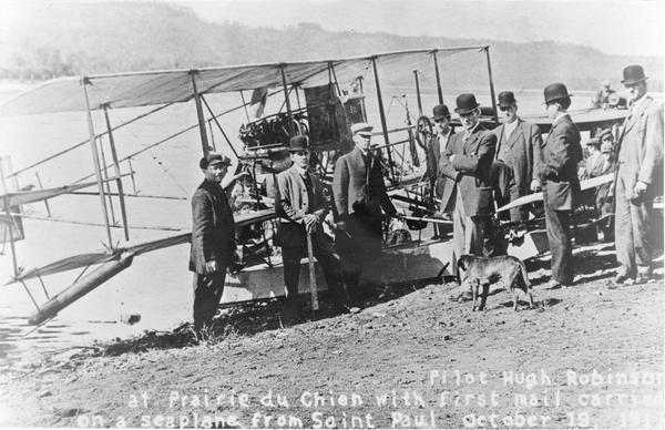Pilot Hugh Robinson and his Curtiss hydroplane at Prairie du Chien during a flight that was intended to be the first all the way down the Mississippi River to New Orleans.