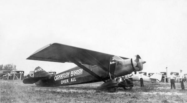 In order to undertake a trans-Atlantic flight to Norway, Clyde Allen Lee sought financial support from the local Oshkosh clothing company.  Toward that end, he painted company advertising on the fuselage of his Stinson airplane, but the company lost interest. Ultimately, businessmen in Vermont offered support, and Lee repainted the plane before taking off. Clyde Allen Lee disappeared over the Atlantic during his flight to Norway in 1932.