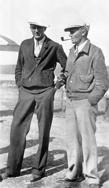 Clyde Allen Lee (left), who grew up in Larsen, Wisconsin, and John Bochkon, a last-minute passenger, before they took off to attempt a trans-Atlantic flight to Oslo, Norway. Their plane disappeared over the Atlantic Ocean.