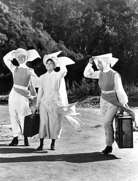 "A publicity still from the ABC television situation comedy, ""The Flying Nun"", which starred Sally Field (center), as Sister Bertrille. With her are actors Marge Redmond, left, and Shelley Morrison. ""The Flying Nun"" television series was based on the book, ""The Fifteenth Pelican"" by Wisconsin writer Tere Rios Versace. Confusingly, Versace also researched a book on Sister Mary Aquinas, the real flying nun from Manitowoc, although it was never published."