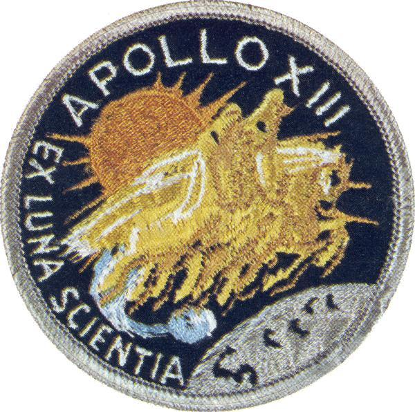 Mission patch design for Apollo 13.  This patch was worn by Commander James A. Lovell, Jr., formerly of Milwaukee; John L. Swigert, Jr.; and Fred W Haise, Jr.  Apollo 13 was launched on April 11, 1970, but terminated shortly after because of a nearly disastrous failure in the service module oxygen tank. Although Apollo 13 might be considered a failure, the return flight, which was televised to a worried nation, made the three astronauts into national heroes.  More recently, the mission was made into a motion picture in which Tom Hanks portrayed Lovell. The Apollo decals from which this image was made were collected by ABC science reporter, Jules Bergman.