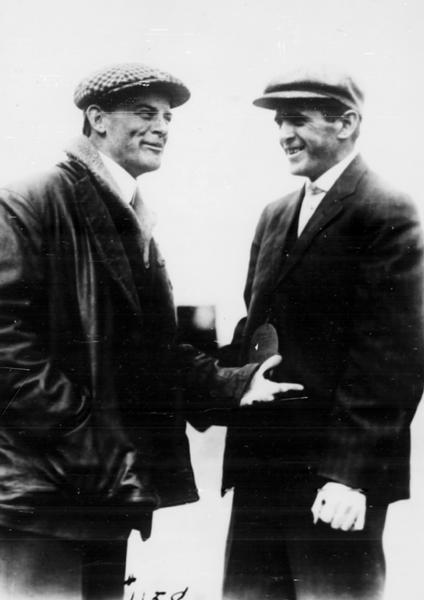 Horace Kearney (left), a member of the Curtiss exhibition team, and Hillery Beachey, brother of the famous aviator, Lincoln Beachey.  Kearney was familiar to Wisconsin audiences, having appeared with Farnum Fish and John Kaminski in Milwaukee in 1912. Kearney disappeared over the Pacific Ocean in 1915. Although Hillery Beachey was a pilot in his own right, he was not of the same caliber as his famous brother. He retired from exhibition flying to become his brother's mechanic.