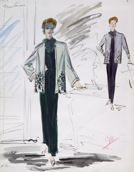 "Costume sketch containing two versions of a pants suit with a large bow tie and a long sleeve jacket with detailing on the bottom; one version is green, the other purple.  This costume was created for Jessie Royce Landis in ""To Catch a Thief"" (Paramount, 1955).  Watercolor and gouache wash over a graphite sketch on paper.  Initialed by artist."