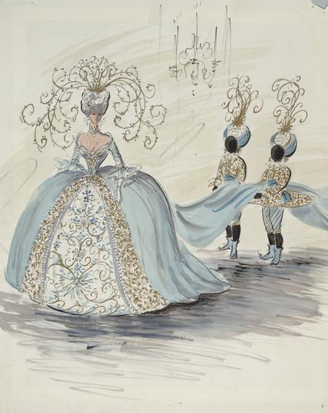 "Costume sketch of a light blue ball gown with white, gold, and blue detailing, and an elaborate gold head piece.  Two boys in matching blue costumes and turbans are carrying the train.  This sketch was created for ""To Catch a Thief""."