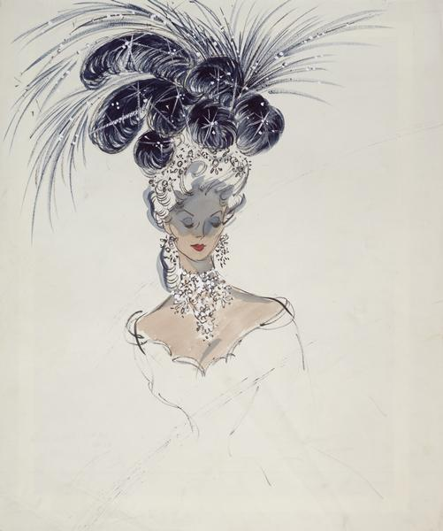 "Costume sketch of a dark blue, plumed headress and jewelry created for Jess Royce Landis in ""To Catch a Thief""."