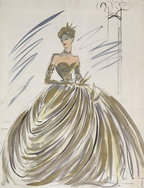 "Costume sketch of a gold, masquerade ball gown created for Grace Kelly in ""To Catch a Thief""."