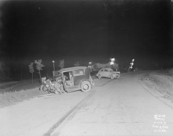 Highway Accident Scene | Photograph | Wisconsin Historical Society