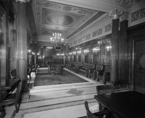 Senate Parlor in the Wisconsin State Capitol, showing elaborate decorations and furniture.