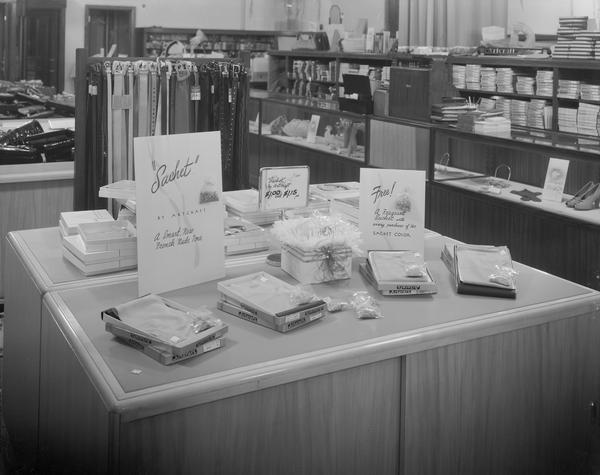 "Manchester's, Inc., 2-6 East Mifflin Street, displays ""Sachet"" hosiery and other accessories."