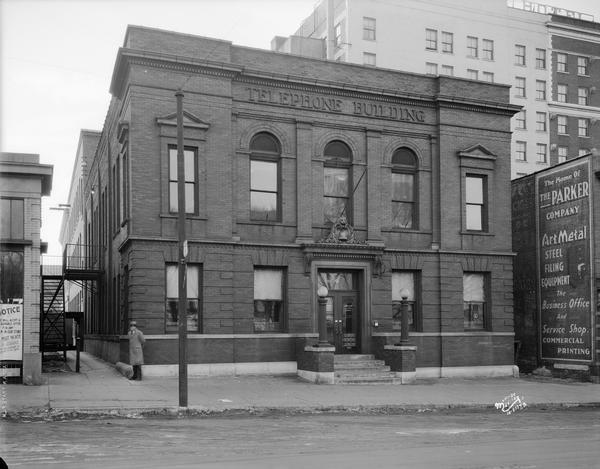 Exterior view of the Wisconsin Telephone Company building, 16 S. Carroll Street.